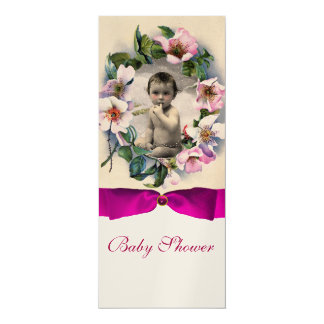 """WILD ROSES AND PINK BOW BABY SHOWER PHOTO TEMPLATE 4"""" X 9.25"""" INVITATION CARD"""
