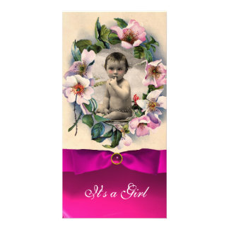WILD ROSES AND PINK RIBBON BABY SHOWER CARD