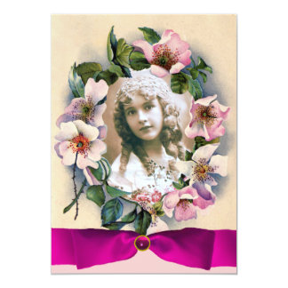 WILD ROSES AND PINK RIBBON SWEET16 PHOTO TEMPLATE CARD