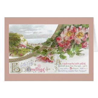 Wild Roses and Vignette Vintage Birthday Card