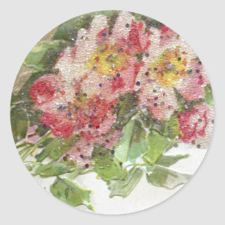 Wild Roses and Vignette Vintage Birthday Classic Round Sticker