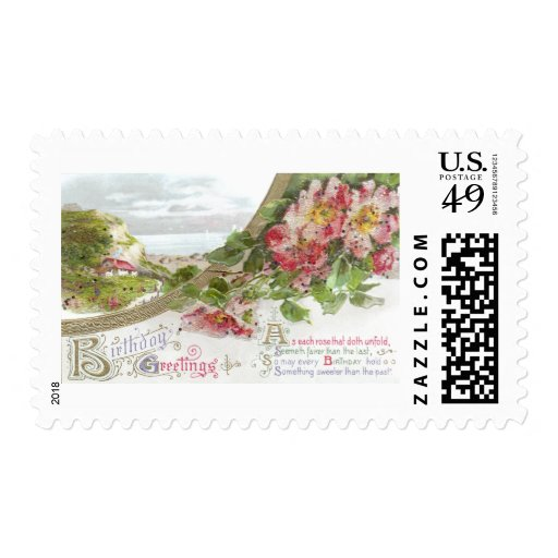 Wild Roses and Vignette Vintage Birthday Stamps