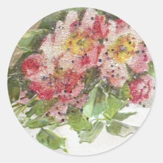 Wild Roses and Vignette Vintage Birthday Round Stickers