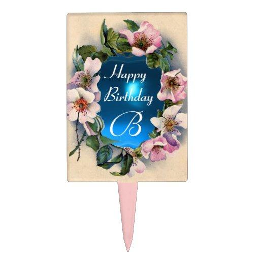 WILD ROSES  HAPPY BIRTHDAY MONOGRAM CAKE PICK