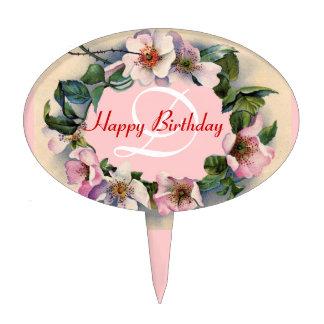 WILD ROSES  HAPPY BIRTHDAY MONOGRAM CAKE TOPPER
