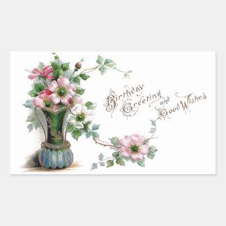 Wild Roses in Vase Vintage Birthday Rectangular Sticker