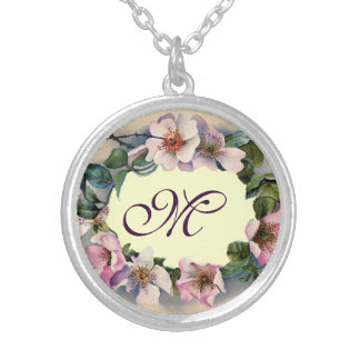 WILD ROSES MONOGRAM SILVER PLATED NECKLACE