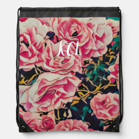 Wild Roses Personalized Drawstring Bag
