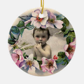 WILD ROSES,PINK GEM BABY SHOWER PHOTO TEMPLATE CERAMIC ORNAMENT