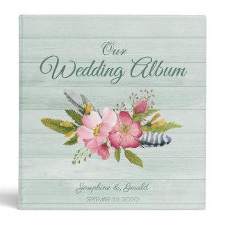 Wild Roses Teal Wood Flower Wedding Photo Album Binder
