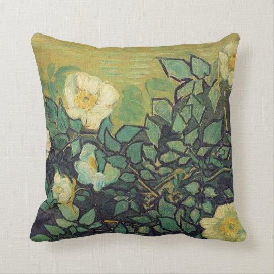 Wild roses,  Vincent van Gogh. Throw Pillow