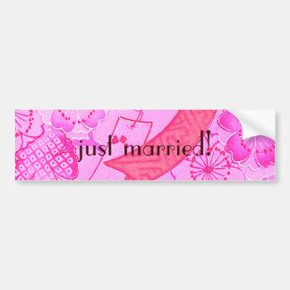 Wild Roses Vintage Wedding Bumper Sticker