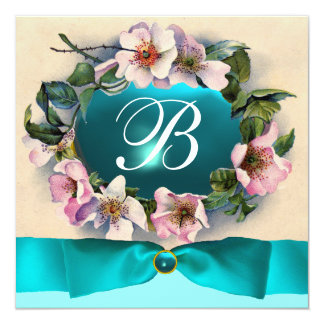 WILD ROSES WITH AQUA BLUE ,TEAL RIBBON ,MONOGRAM CARD