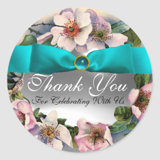WILD ROSES WITH AQUA BLUE ,TEAL RIBBON ,Thank you Classic Round Sticker