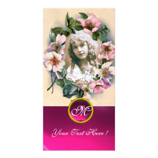 WILD ROSES WITH PINK FUCHSIA GEM STONE MONOGRAM CARD