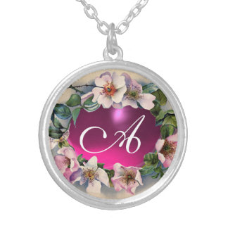 WILD ROSES WITH PINK FUCHSIA GEM STONE ROUND PENDANT NECKLACE
