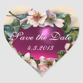 WILD ROSES WITH PINK FUCHSIA GEM STONE Save Date Heart Sticker