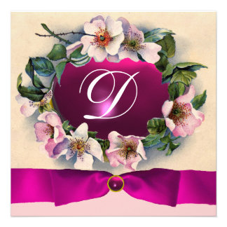 WILD ROSES WITH PINK RIBBON MONOGRAM PERSONALIZED INVITATION