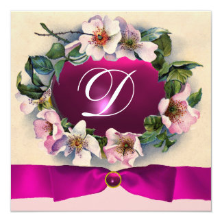 WILD ROSES WITH PINK RIBBON ,MONOGRAM PERSONALIZED INVITATION