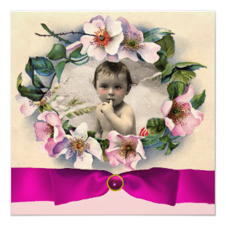 WILD ROSES WITH PINK RIBBON PHOTO TEMPLATE