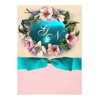 WILD ROSES WITH TEAL BLUE RIBBON MONOGRAM CUSTOM ANNOUNCEMENT