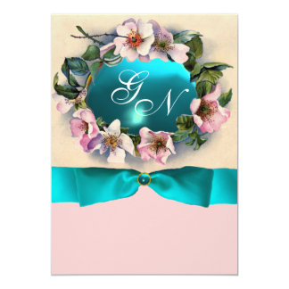 WILD ROSES WITH TEAL BLUE RIBBON ,MONOGRAM CUSTOM ANNOUNCEMENT