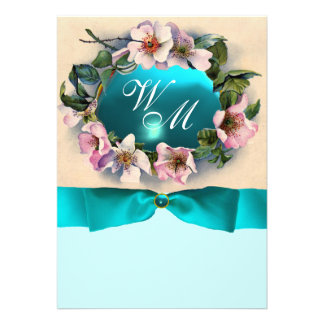 WILD ROSES WITH TEAL BLUE RIBBON MONOGRAM PERSONALIZED ANNOUNCEMENTS
