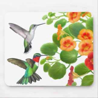 Wild Ruby Throated Hummingbirds Mousepad