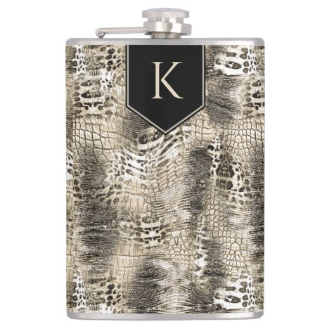 Wild Safari Animal Print with Any Monogram Flask