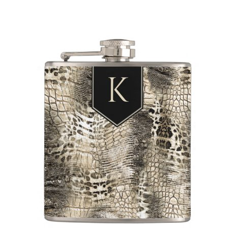 Wild Safari Animal Print with Your Monogram Flask