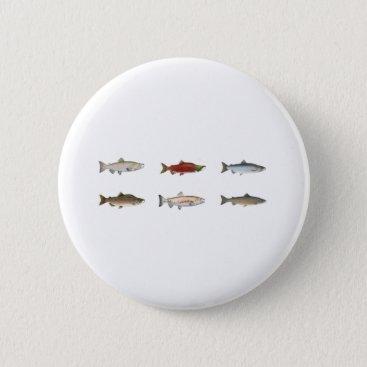 fish_fishing_seafood Wild Salmon Pinback Button