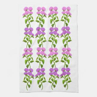 Wild Scottish Thistle Floral Kitchen Towel