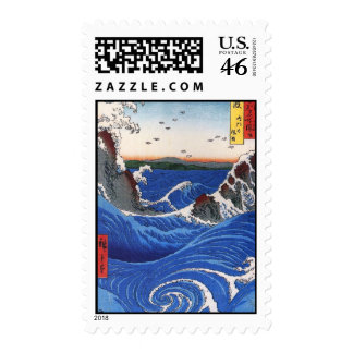Wild sea breaking on the rocks Hiroshige Postage Stamps