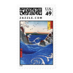 Wild sea breaking on the rocks, Hiroshige Postage Stamps