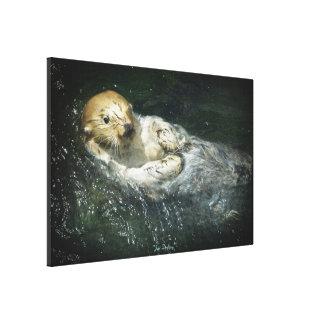 Wild Sea Otter Drifting in Ocean Water Art Canvas