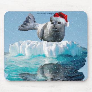 Wild Seal & Winter Snow-fall Christmas Mousepad