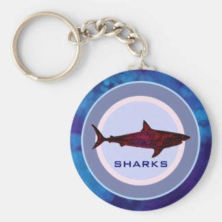 wild shark fish basic round button keychain