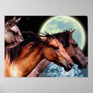 Wild Spanish Mustang Horses Fantasy Art Poster