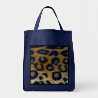 Wild Spotted Leopard Print Reusable Navy Blue Grocery Tote Bag