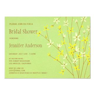 Wild Spring Flowers Lime Green Bridal Shower Custom Invitation