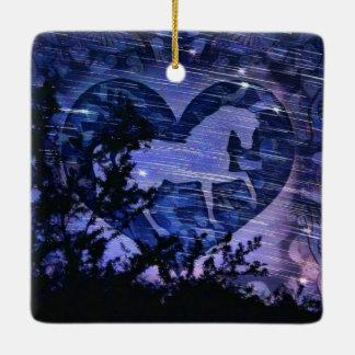 Wild Starry Night Ceramic Ornament