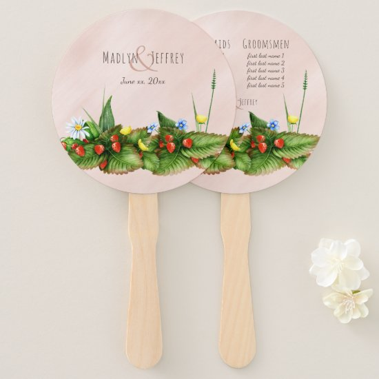 Wild strawberries and wildflowers custom names hand fan