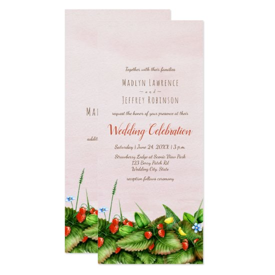 Wild strawberries floral meadow blush watercolor invitation