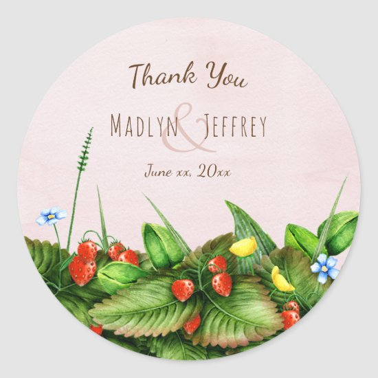 Wild strawberries meadow flowers blush thank you classic round sticker