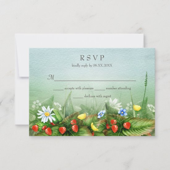 Wild strawberries wildflowers meadow blue sky RSVP