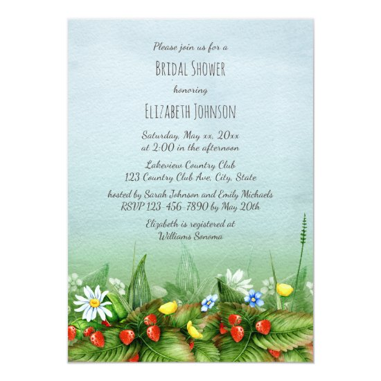 Wild strawberries wildflowers meadow bridal shower invitation