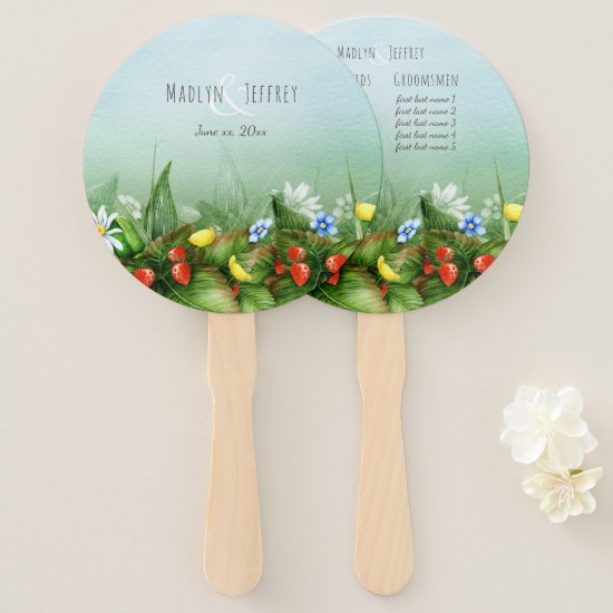 Wild strawberry meadow blue sky country wedding hand fan