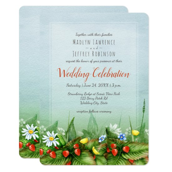 Wild strawberry meadow blue sky nature wedding invitation