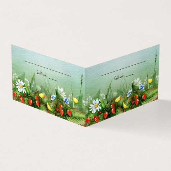 Wild strawberry meadow country wedding place card