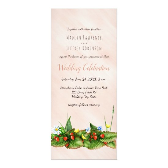 Wild strawberry meadow wildflowers barely blush card